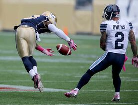 Winnipeg Blue Bombers' Brandon Stewart (8) misses an interception opportunity against the Toronto Argonauts' during the first half.