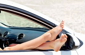 Putting your feet up on or near the dash in a moving car is like playing Russian roulette with a fully loaded gun.