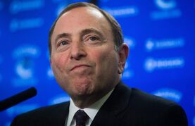 NHL Commissioner Gary Bettman pauses while responding to questions during a news conference in Vancouver, B.C., on January 30, 2015. The former players suing the NHL over concussion-related problems have accused the league of blocking access to Commissioner Gary Bettman for testimony in the case. THE CANADIAN PRESS/Darryl Dyck