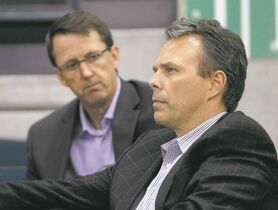 TREVOR HAGAN/WINNIPEG FREE PRESS filesMark Chipman, chairman of True North Sports and Entertainment (left) along with Jets GM Kevin Cheveldayoff, must decide where and when to spend.