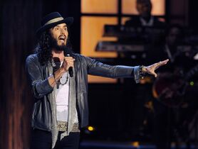 Comedian Russell Brand performs at