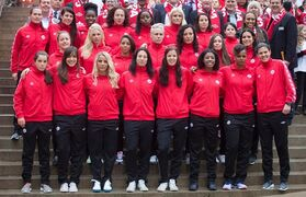 Members of the Canadian national women's soccer team stand for a photograph after the roster for the 2015 FIFA Women's World Cup was announced, in Vancouver, B.C., on Monday April 27, 2015. THE CANADIAN PRESS/Darryl Dyck