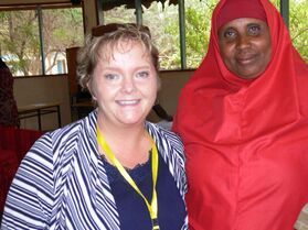 Carol Sanders (left) with the elected chairwoman of a refugee camp in Dadaab, Kenya,  Asmina Isnina Ali.