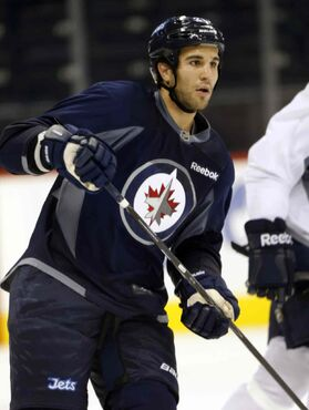 Patrice Cormier, seen here practising with the Winnipeg Jets in September.