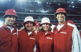 From left to right: Mark Heese, Sandy Maskiw, Heather Ruby, and John Child at the opening ceremonies of the 2000 Olympics. Heese and Child were beach volleyball players on Team Canada. Ruby, who played softball in the province for 20 years, is among this year's inductees into the Manitoba Sports Hall of Fame.