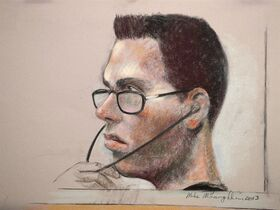 Luka Rocco Magnotta is shown in an artist's sketch in a Montreal court on March 13, 2013. THE CANADIAN PRESS/Mike McLaughlin