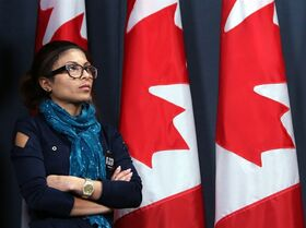 Ensaf Haidar, wife of jailed Saudi blogger Raif Badawi who has been flogged by Saudi authorities, takes part in a news conference in Ottawa in Ottawa, Thursday, Jan.29, 2015. THE CANADIAN PRESS/Fred Chartrand