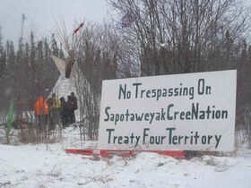 The Sapotaweyak Cree Nation has set up a tepee along the path of Bipole III to protest the transmission line going through their treaty entitlement land.