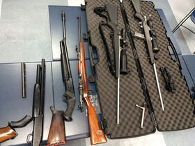 Some of the guns seized from the home on Beverley Street.
