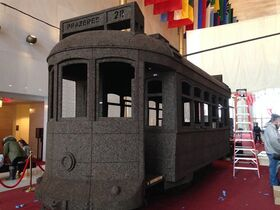 This photo, taken with an iPhone on Feb. 25, 2015, shows an installation created by contemporary artist Nuno Vasa of Lisbon, Portugal, a full-size cable car made entirely of cork _ a major Portuguese export, at the Kennedy Center in Washington. The installation is featured in a three-week, $6 million Iberian arts festival at the Kennedy Center in Washington, featuring theater, music, dance and visual arts from Portugal, Spain and the many countries they have influenced over the centuries. (AP Photo/Brett Zongker)