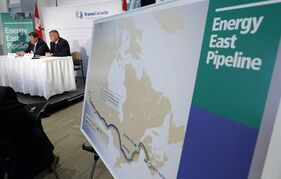 The Energy East pipeline proposed route is pictured as TransCanada officials speak during a news conference in Calgary, on Aug. 1, 2013. THE CANADIAN PRESS/Jeff McIntosh