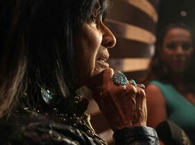 Singer songwriter Buffy Sainte-Marie in the Indigenous Perspectives gallery at the Canadian Museum for Human Rights.