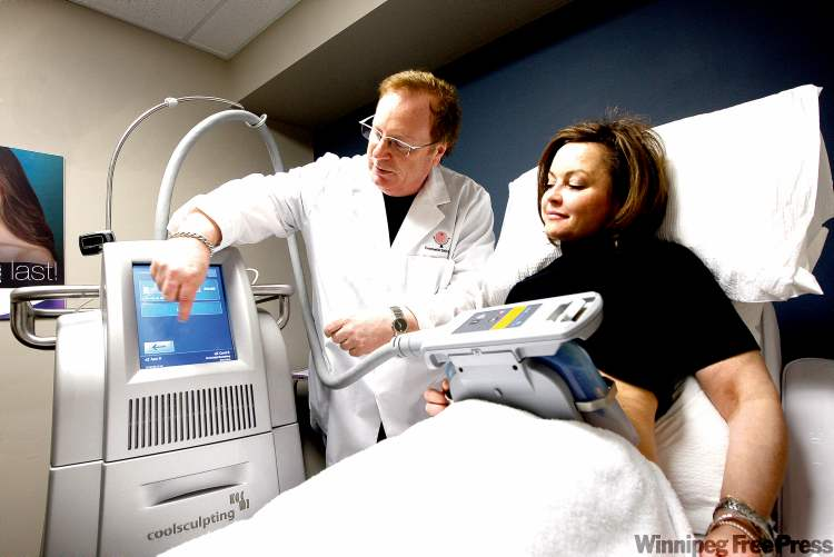 Dr. Earl Minuk demonstrates Cool Sculpting, a fat-reducing cosmetic procedure that freezes fat.