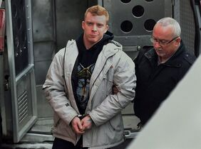 Daniel Wayne Surette arrives at provincial court in Kentville, N.S., on Feb. 9, 2015. On Tuesday, two men in Nova Scotia will be sentenced after they pleaded guilty to second-degree murder in the slaying of Harley Lawrence, a 62-year-old homeless man set on fire as he slept in a bus shelter in Berwick northwest of Halifax. THE CANADIAN PRESS/Andrew Vaughan