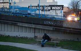 The Burrard Iron Works building and the Main Street overpass, filming locations for the movie