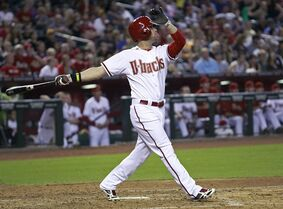 Arizona Diamondbacks' Ender Inciarte watches his three-run home run against the Pittsburgh Pirates during the fifth inning of a baseball game, Friday, Aug. 1, 2014, in Phoenix. (AP Photo/ Ralph Freso)
