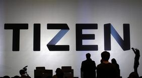 The logo of Tizen is pictured in Seoul, South Korea on Nov.11, 2013. THE CANADIAN PRESS/AP, Lee Jin-man