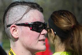 Joanne Schiewe after crossing the finish line. Schiewe was diagnosed three months ago to the day with brain cancer.