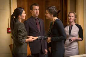 This image released by SundanceTV shows, from left, Eve Best, Tobias Menzies, Maggie Gyllenhaal and Genevieve O'Reilly in a scene from