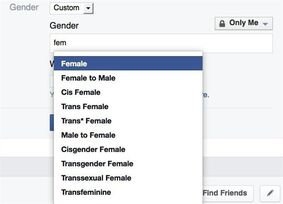 In this screen grab provided by Facebook, the custom gender options now available are seen on a profile page. Facebook users who don't fit any of the 58 gender identity options offered by the social media giant are now being given a rather big 59th option: fill in the blank.