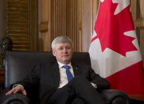 Canadian Prime Minister Stephen Harper sits in his chair before a meeting with India's High Commissioner Designate to Canada Vishnu Prakash, Wednesday March 25, 2015 in Ottawa. THE CANADIAN PRESS/Adrian Wyld