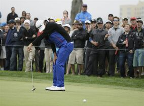 Billy Horschel reacts after missing a putt on the 19th hole of TPC Harding Park during round-robin play against Rory McIlroy of Northern Ireland at the Match Play Championship golf tournament Friday, May 1, 2015, in San Francisco. McIlroy won the match on the 20th hole. (AP Photo/Eric Risberg)