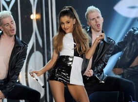"FILE - In this May 18, 2014 file photo, Ariana Grande performs at the Billboard Music Awards at the MGM Grand Garden Arena, in Las Vegas. Grande is having a breakthrough in music with the multiplatinum hit ""Problem,"" which is spending its 13th week in the top 10 on the Billboard Hot 100 chart. The song features rapper Iggy Azalea and is from Grande's sophomore album, ""My Everything,"" to be released Aug. 25, 2014. (Photo by Chris Pizzello/Invision/AP, file)"