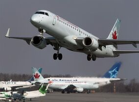 An Air Canada jet takes off from Halifax Stanfield International Airport in Enfield, N.S. on Thursday, March 8, 2012. Air Canada has announced it is changing its policy on the number of people required in the cockpit of its aircraft, a move prompted by the Germanwings plane crash in France. THE CANADIAN PRESS/Andrew Vaughan