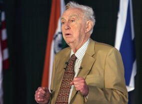 FILE - In this Dec. 16, 2008, file photo, American physicist, and Nobel laureate Martin L. Perl, speaks at a Science Conclave at the Indian Institute of Information Technology in Allahabad, India. Standford University said Perl, who discovered a subatomic particle known as the tau lepton, died Tuesday, Sept. 30, 2014. He was 87. (AP Photo/Rajesh Kumar Singh, File)