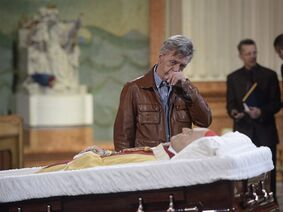 A man pays his respects as the body of Cardinal Jean-Claude Turcotte is on view at Mary Queen of the World Cathedral in Montreal, Thursday, April 16, 2015. Cardinal Turcotte died last week after a lengthy illness. THE CANADIAN PRESS/Ryan Remiorz