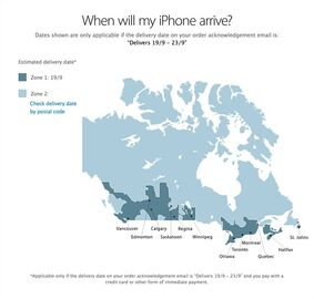 A delivery map from the Apple Canada website is shown on Sept. 12, 2014. THE CANADIAN PRESS/HO