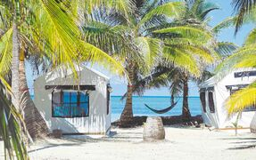 These comfortable beachfront tents were the accommodations on the Southwest Caye of Glover's Reef Atoll.