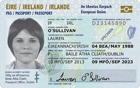 This undated photo issued on Monday Jan. 26, 2015, by Ireland's Department of Foreign Affairs and Trade shows the design of the front of the new Irish Passport Card. The credit card-style passports make their debut in July 2015 and, according to Foreign Minister Charlie Flanagan, can be used to travel throughout the 28-nation European Union as well as Iceland, Norway and Liechtenstein. (AP Photo/Department of Foreign Affairs and Trade/PA) UNITED KINGDOM OUT NO SALES NO ARCHIVE