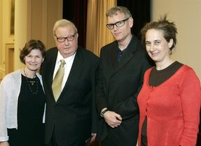 FILE - In this April 27, 2007 photo provided by the Academy of Motion Picture Arts and Sciences, Anne and Robert Drew, left, join Ed Carter and Grace Guggenheim, right, during an event honoring him at the National Archives in Washington, D.C. The