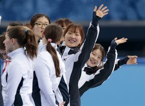South Korean team members wave to spectators as they celebrate their win in the women's 3000m short track speedskating relay final at the Iceberg Skating Palace during the 2014 Winter Olympics, Tuesday, Feb. 18, 2014, in Sochi, Russia. (AP Photo/Ivan Sekretarev)
