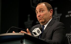 NHL Commissioner Gary Bettman, speaking to media prior to game three NHL playoffs between the Winnipeg Jets' and Anaheim Ducks in Winnipeg, Monday, April 20, 2015. THE CANADIAN PRESS/Trevor Hagan