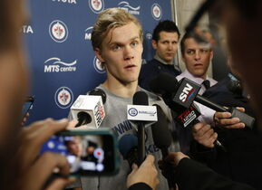 Winnipeg Jets  prospect Nik Ehlers speaks to the media Friday at the MTS Centre.