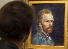 A patron looks at a self portrait by Vincent Van Gogh at the Museum of Fine Arts on Tuesday, October 7, 2014 in Montreal. THE CANADIAN PRESS/Ryan Remiorz