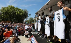 The Minnesota Timberwolves introduce the new players for the NBA basketball team--Andrew Wiggins, Anthony Bennett, Thaddeus Young and Zach LaVine, from left--during a news conference at the Minnesota State Fair on Tuesday, Aug. 26, 2014, in Falcon Heights, Minn. (AP Photo/Star Tribune, Brian Mark Peterson)