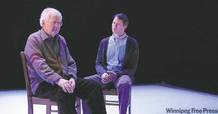 Harry Nelken, left, and Eric Blais each play multiple roles in local playwright Daniel Thau-Eleff's ambitious work.