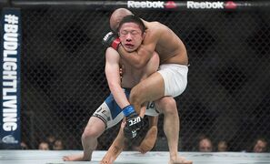 Demetrious Johnson, from the United States, right, takes Kyoji Horiguchi, from Japan, down during their UFC 186 flyweight title fight in Montreal, Saturday, April 25, 2015. THE CANADIAN PRESS/Graham Hughes