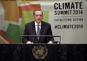 President Recep Tayyip Erdogan, of Turkey, addresses the United Nations Climate Summit, at U.N. headquarters, Tuesday, Sept. 23, 2014. (AP Photo/Richard Drew)