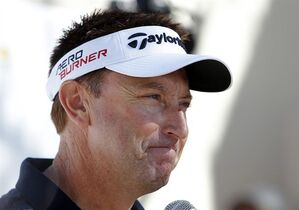 Robert Allenby, of Australia, talks to the media at a practice round for the Phoenix Open golf tournament, Tuesday, Jan. 27, 2015, in Scottsdale, Ariz. (AP Photo/Rick Scuteri)