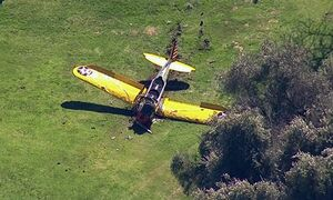 This image from video provided by KABC-TV shows a small plane that crash-landed on the Penmar Golf Course in the Venice area of Los Angeles, Thursday, March 5, 2015. Authorities say the single-engine plane went down around 2:30 p.m. Thursday on the green at the golf course near the Santa Monica Municipal Airport. (AP Photo/KABC-TV) MANDATORY CREDIT