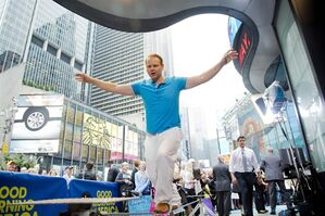 Daredevil Nik Wallenda practices walking a tightrope on ABC's