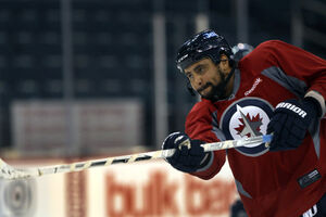 Winnipeg Jets defencemen Dustin Byfuglien at practice this morning at MTS Centre.