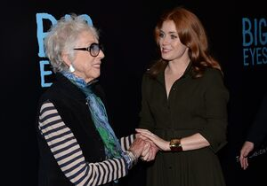FILE - In this Monday, Dec. 15, 2014 file photo, Margaret Keane, left, greets actress Amy Adams at the