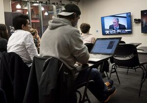 Students at Ryerson University in Toronto participate in a class taught by Ken Dryden via webcam from McGill University in Montreal on Thursday, March 26, 2015. THE CANADIAN PRESS/Darren Calabrese