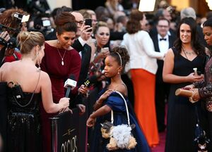 Actress Quvenzhane Wallis arrives at the Oscars at the Dolby Theatre on Sunday Feb. 24, 2013, in Los Angeles. (Photo by Matt Sayles/Invision/AP)