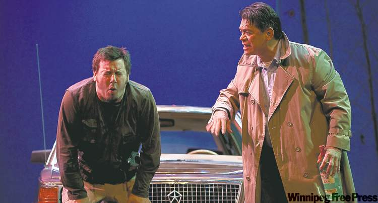 Lauzon (left) and Cardinal in a scene from the decidedly unsophisticated Thunderstick, on until April 17 at PTE.